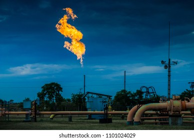 Huge hot flames of gas pipe burnout, system maintenance of gas distribution station