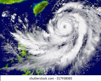 Huge hurricane approaching Southeast Asia. Elements of this image furnished by NASA