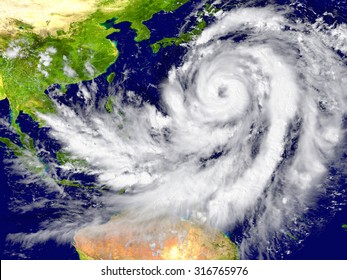 Huge hurricane north of Australia. Elements of this image furnished by NASA