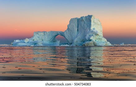 Huge icebergs of different forms in the Disko Bay, West Greenland. Their source is by the Jakobshavn glacier. This is a consequence of the phenomenon of global warming and catastrophic thawing of ice