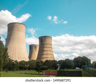 Huge industrial chimney stands tall above the countryside in Lincolnshire.