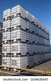 Huge industrial IBC outdoor storage.