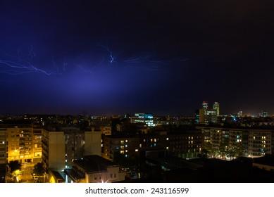 Huge lightning storm over the city. Barcelona, Spain