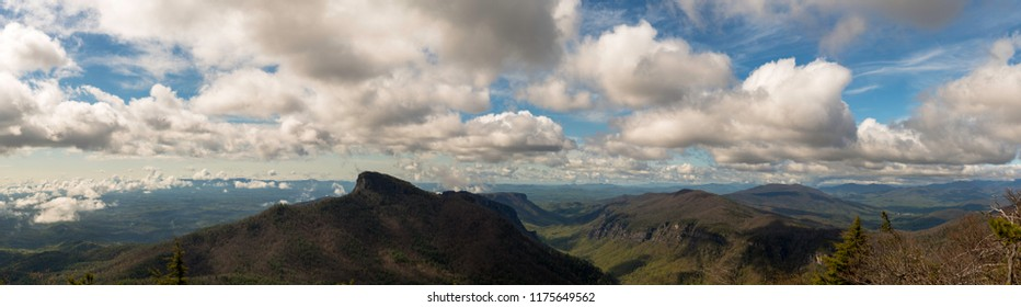 Huge Linville Gorge Panorama Showing Table Rock and Linville Gorge - Huge panorama with major detail in original file. Amazing clouds epic landscape. Blue Ridge / Appalachian Mountains