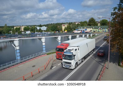 Huge lorries on the road-car transport, Augustow town, Podlasie, Poland