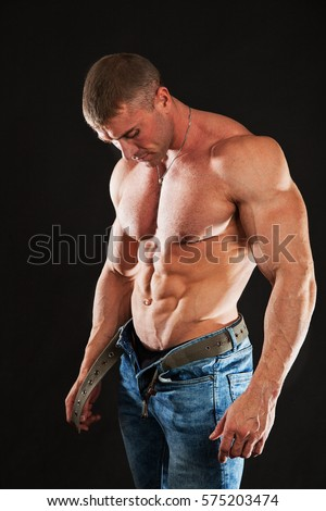 huge man strong body muscles wearing stock photo edit now