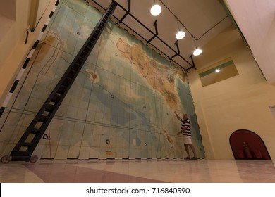 huge map board used to plan the defense of Malta and invasion of Sicily during world war two, Interior Headquarters Lascaris War Rooms, Valletta, Malta, June 2017