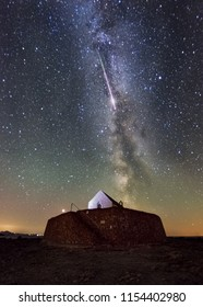 Huge Meteor Lights up the sky over Cwyfan Church, Angelsey, Wales. Perseids Meteor Shower 2018
