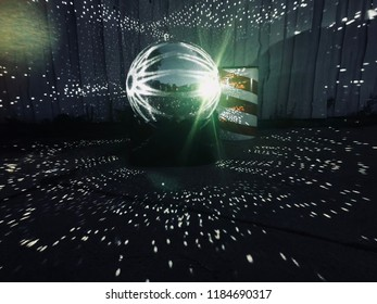Huge Mirrorball reflecting on the floor