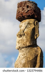 Huge Moai face with hat from Ahu Tongariki, the most amazing Ahu platform on Easter Island. 15 moais still stand up at the south east of the Island. Ahu Tongariki reveals the Moais magic