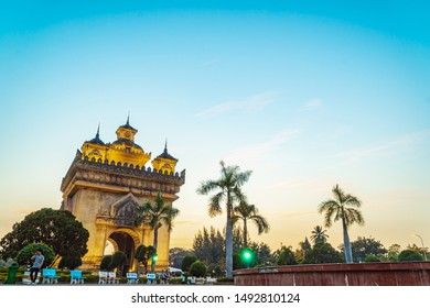 "A huge monument ""Patuxay"" in Vientiane, Laos"
