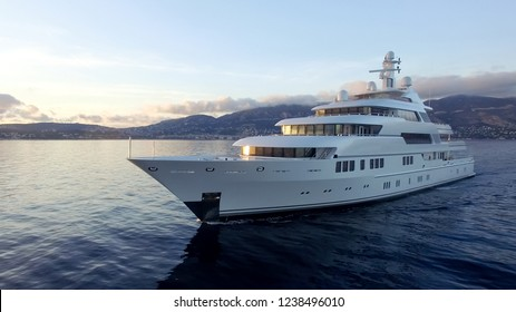 A huge motor yacht underway