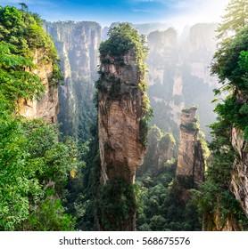 Huge mountain pillar at Zhangjiajie Forest Park. Hunan province, China.