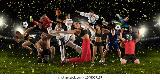 Huge multi sports black collage basketball taekwondo, karate, bodybuilding, athletics