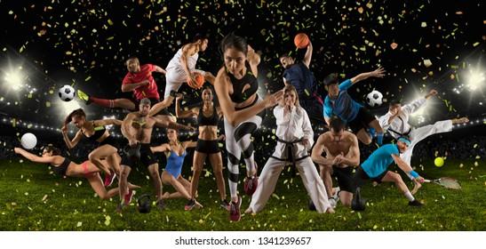 Huge multi sports collage athletics, taekwondo, tennis, karate, soccer, basketball, football, bodybuilding, etc