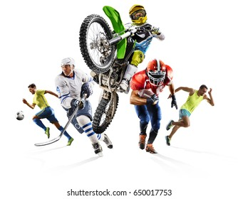 Huge multi sports collage soccer athletics football hockey motocross