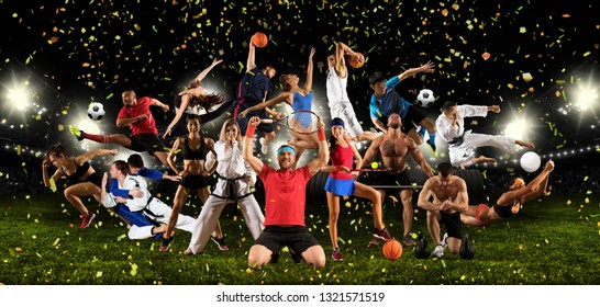 Huge multi sports collage taekwondo, volleyball, tennis, soccer, basketball, football, bodybuilding, etc