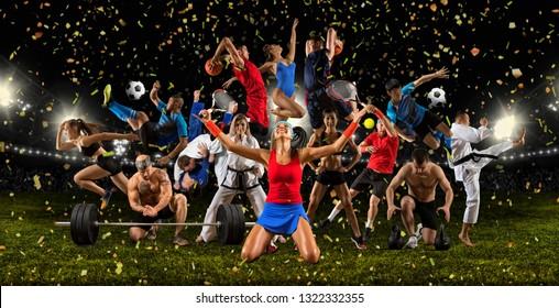 Huge multi sports collage taekwondo, tennis, soccer, basketball, football, bodybuilding, etc