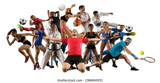 Huge multi sports collage taekwondo, volleyball, tennis, soccer, basketball, football, bodybuilding, etc. On white background