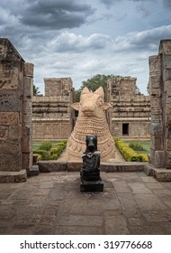 Huge Nandi the bull at the entrance of Shiva temple in South India