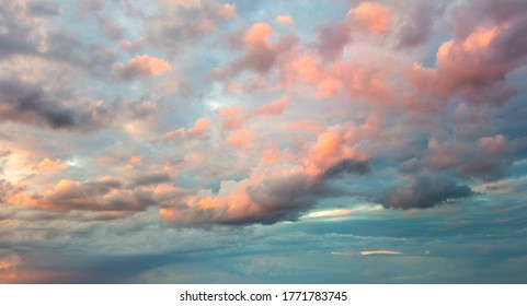 Huge Natural sky background - Panoramic Sunrise Sundown Sanset Sky with colorful clouds, without any birds. Big size sky panoramic view