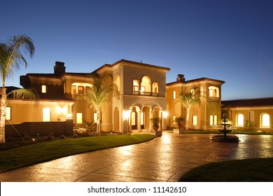A huge new luxury home at sunset