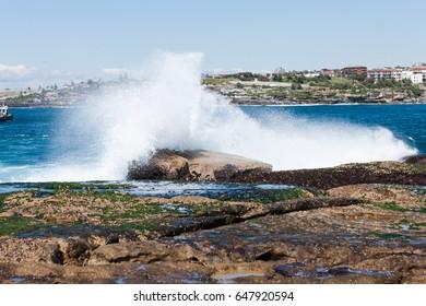 Huge ocean swell bringing in big waves in Bondi Beach Australia.