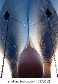 Huge ocean vessel (draught more than 12 metres) with bulbous bow