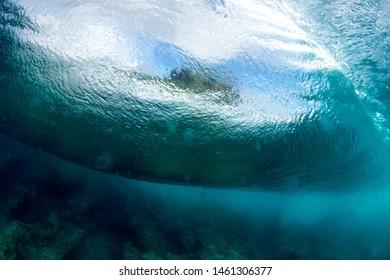 a huge ocean wave underwater