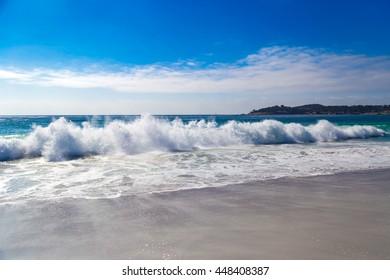Huge Ocean Waves in Carmel-by-the-Sea, in California, USA