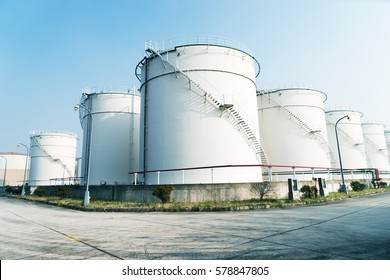 huge oil tanks in oil refinery plant