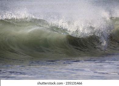 A Huge Pacific Ocean Wave Breaks on the Beach