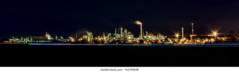 Huge panorama of an industrial plant at night