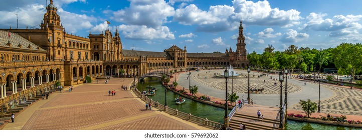Huge Panoramic view of The Plaza de Espana is a plaza in the Parque de Maria Luisa, in Seville, Spain, built in 1928 for the Ibero-American Exposition of 1929
