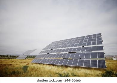 huge photovoltaic panel with blue sky, Zaragoza province, Aragon, Spain