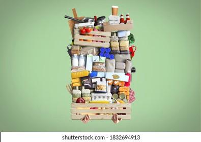 Una enorme pila de comida apilada en un cajón de madera. El concepto de comida.