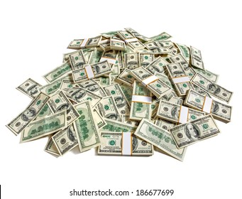 Huge pile of money / studio photography of American moneys of hundred dollar