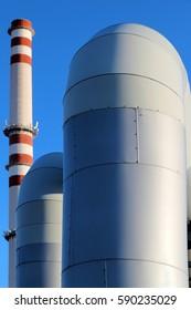 huge pipe in steel factory under blue sky
