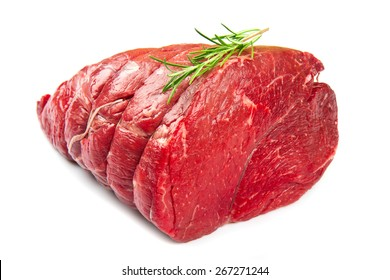 huge red meat chunk isolated over white background