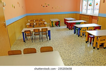 huge refectory of the school canteen before lunch break
