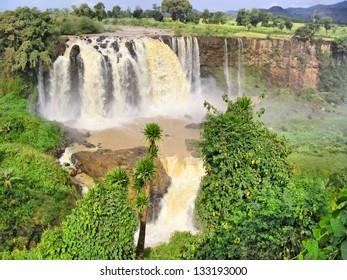 Huge river waterfall. Shot in Ethiopia.