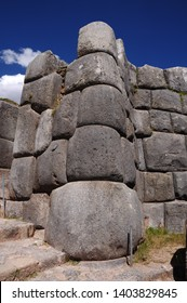 Huge rocks form the walls of the ruins of Sacsayhuaman in Cusco-PERU