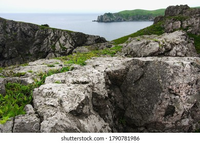 Huge rocks on the ocean, sea summer landscape, Gamova lighthouse, Russia, the southernmost point of Russia,, Primorsky Krai, Peter the great Bay, Babkin's Cape.