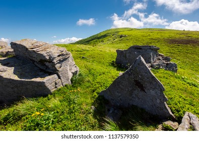 huge rocky formation on hillside. lovely summer scene in mountains. beautiful nature background of alpine meadows