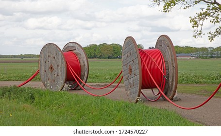 Huge roll of cable for underground cable installation, the Netherlands