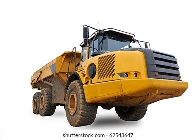 Huge Sand Dump Truck on white background