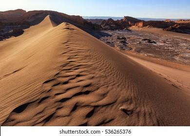 Huge sand dunes in Moon Valley, very close to San Pedro de Atacama. Atacama, Chile.