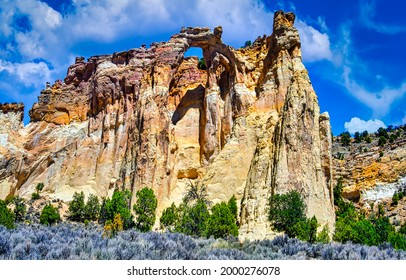 A huge sandstone rock view. Mountain sandstone rock. Mountain high sandstone rocks