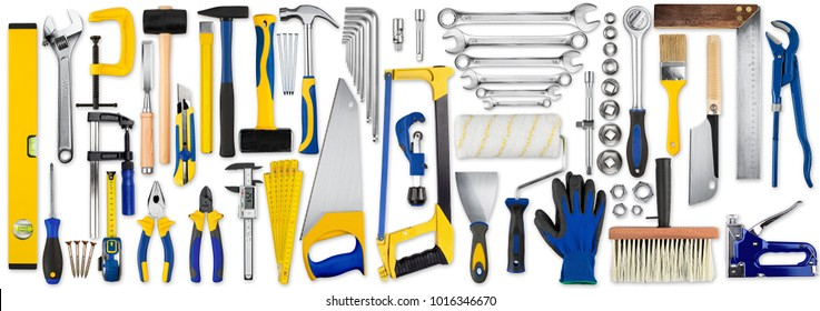 huge set collection of yellow blue and wooden diy hand tools isolated on white background