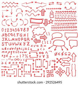 Huge set of red hand drawn elements. Arrows, lines, graphics, letters, math signs and others.